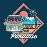 Car for surfing trip print vector illustration