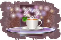 Ð ¡与在玻璃盘子的一个茶碟 免版税库存照片