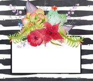 Ð以心脏、花和蕨的形式¡ actus在黑白水彩镶边的背景离开 免版税库存图片