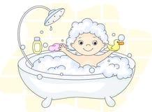 Ð ¡沐浴在与泡沫和黄色鸭子的浴的犹特人小孩 Cle 库存照片