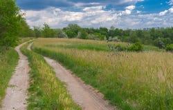 л andscape με έναν γήινο δρόμο στην άκρη του λιβαδιού Στοκ Εικόνες
