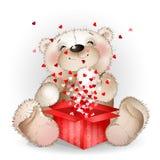 Ð- appy Bär erhielt in einer Geschenkbox mit vielen Herzen 2 Lizenzfreies Stockfoto
