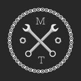 Ð-¡ AR oder Fahrradwerkstattlogoschablone (Konzept) Auch im corel abgehobenen Betrag Stockfotografie