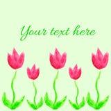 Ð ¡ ard z akwareli menchii tulipanami Ð ¡ hildren rysunków styl Obrazy Royalty Free