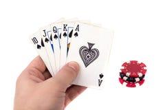 Ð ¡ ards και τσιπ πόκερ υπό εξέταση Στοκ Φωτογραφία