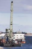 Сargo ship near сrane Royalty Free Stock Photography