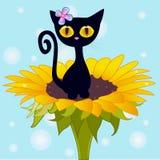 Ð ¡ artoon黑色小猫 免版税库存图片