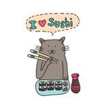 Ð ¡ bij het eten van sushi met eetstokjes Stock Fotografie