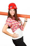 Ð  dziewczyna w hełmie od jeden strony z rolką papier Obrazy Royalty Free