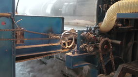 Мechanisms in motion 1. Old industrial machine works. Transparent mechanisms consisting of gears stock video footage
