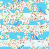 Ð ¡ herry, μήλο, λουλούδια, πουλί Άνευ ραφής σχέδιο Watercolor Στοκ Εικόνες