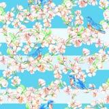Ð ¡ herry, jabłczany, kwiaty, ptak Akwarela bezszwowy wzór Obrazy Stock