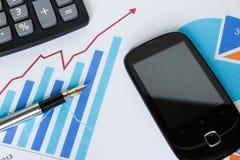 Ð-¡ Hirsch-Geschäftsdiagramm-Netzdiagramm-Statistiktelefon Stockbilder