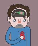 Ð-hjärtinfarkt på fylleristerna Arkivbild