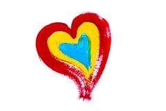 Ð  i rysujący kolorowy serce Obraz Royalty Free