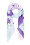 а neckerchief jedwab z błękitnym dekoracyjnym wzorem na białym tle, odosobnionym Obraz Stock
