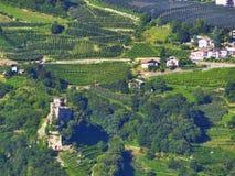 Оnhellingen van bergen mooie wijngaarden rond het geheimzinnige slot Noordelijk Italië Merano Stock Foto