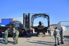 Ð  nti航空器导弹complexe飞行表演索非亚,保加利亚 免版税库存照片
