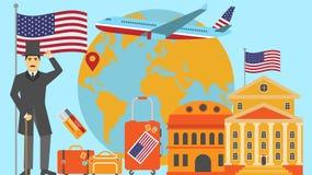 Добро пожаловать к открытке США Концепция перемещения и сафари иллюстрации вектора карты мира Европы с национальным флагом иллюстрация штока