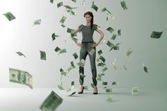 Дождь денег на успешной женщине бесплатная иллюстрация