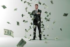 Дождь денег на успешном человеке бесплатная иллюстрация