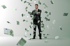 Дождь денег на успешном человеке иллюстрация штока