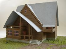 Brown model of the country house from matches royalty free stock photo