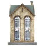 Дом Старое бежевое здание Особняк изолирован на белой предпосылке зодчество бесплатная иллюстрация