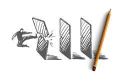 Достижение, цель, запуск, бизнесмен, концепция успеха Вектор нарисованный рукой изолированный иллюстрация вектора