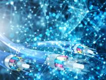 Доступ в интернет со стекловолокном Концепция быстрого интернета стоковое изображение