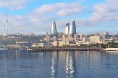 Ð ¡ oast morze kaspijskie w Baku zdjęcie royalty free