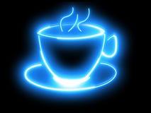 Ð-¡ oben des Kaffees Blaues Neon Lizenzfreie Stockbilder