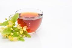 Ð-¡ oben des Tees mit einem Zweig der blühenden Linde Lizenzfreies Stockfoto
