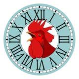 Ð-¡ ock in der runden Uhrskala Stockbilder
