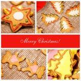 Ð ¡ ollage 圣诞节姜饼干 免版税库存照片
