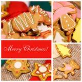 Ð ¡ ollage 圣诞节姜饼干 图库摄影