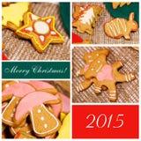 Ð ¡ ollage 圣诞节姜饼干 库存图片