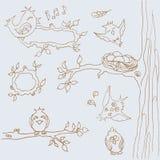 Ð-¡ ollection av roliga fåglar Linje konst hand-teckning knäppas rengöringsdukdesign Fotografering för Bildbyråer