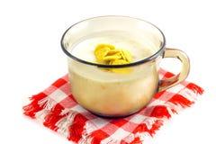 Ð ¡ omhoog van yoghurt op geruit servet Royalty-vrije Stock Fotografie
