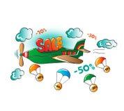 Ð-¡ omic Illustration des fördernden Verkaufs im Flugzeug Stockfoto
