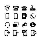 Ð ¡ ommunication, vraag, geplaatste telefoonpictogrammen Stock Fotografie