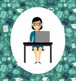 Ð ¡ oncept uczenie z nauczycielem, stołem i komputerem, Obrazy Royalty Free