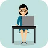 Ð ¡ oncept uczenie z nauczycielem, stołem i komputerem, Zdjęcie Royalty Free