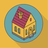 Ð ¡ ottage Płaski wektorowy ilustracja dom Isometric ikona Zdjęcie Stock