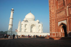 Еourists visiting famous landmark of India - Taj Mahal monument listed as UNESCO World Heritage Stock Photo