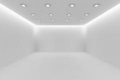 Ð•pièce blanche mpty avec de petites lampes rondes de plafond Photo libre de droits