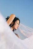 Вride. Portrait of beautiful young bride with wedding veil Stock Photography