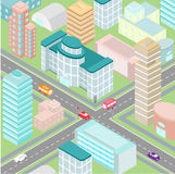 Ð ¡ rossroad in een grote stad met moderne gebouwen in isometrisch Stock Fotografie