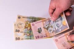 Ðœan telt Roemeense bankbiljetten op een wit close-up als achtergrond Royalty-vrije Stock Fotografie