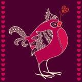 Ð- und gezogener Dompfaff mit rotem Herzen in seinem Schnabel Lizenzfreies Stockfoto